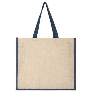Холщовая сумка для покупок Bagari с синей отделкой