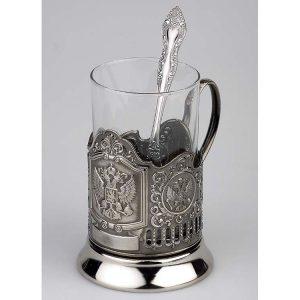 Набор Герб России: стакан с подстаканником и ложкой