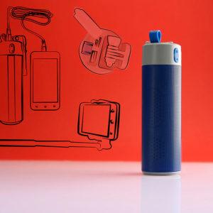 Bluetooth колонка TURBO TUBE с зарядным устройством (2000mAh) и моноподом