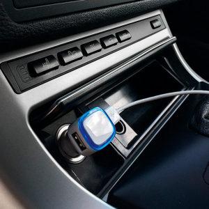 """Автомобильный адаптер """"Mobicar"""" для зарядки мобильных устройств с подсветкой и двумя USB-портами"""