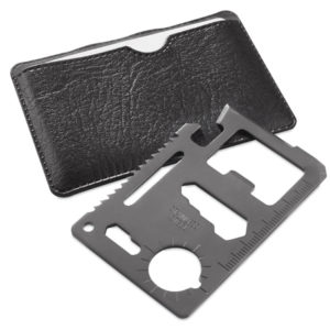 Мультиинструмент WICAX в чехле из искусственной кожи8 x 5.5 x 0.3 cm нерж. сталь черный серый
