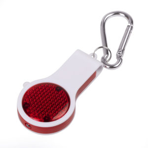 Брелок со свистком фонариком и светоотражателем FLOYKIN на карабине красный с белым 37х67х15см