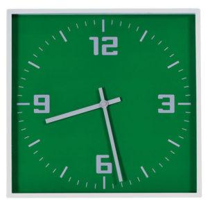 """Часы настенные """"КВАДРАТ""""; зеленый 30*30 см; пластик; без элементов питания"""
