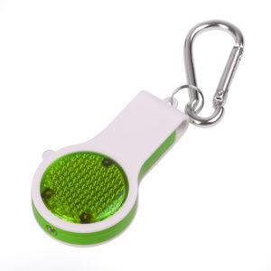 Брелок со свистком фонариком и светоотражателем FLOYKIN на карабине зеленый с белым37х67х15см